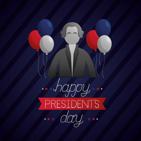 happy presidents day balloons ribbon stripes background vector illustration