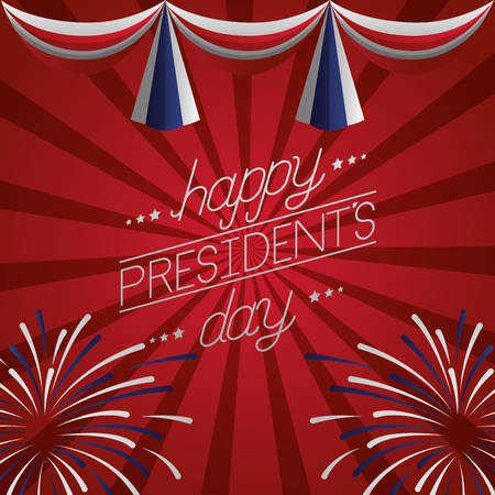 happy presidents day pennants firewroks stripes decoration vector illustration