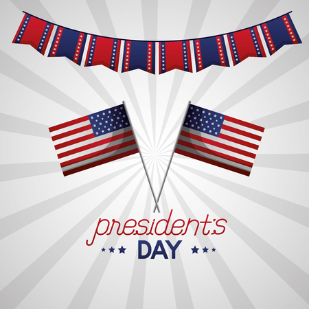 happy presidents day american flags pennants decoration vector illustration