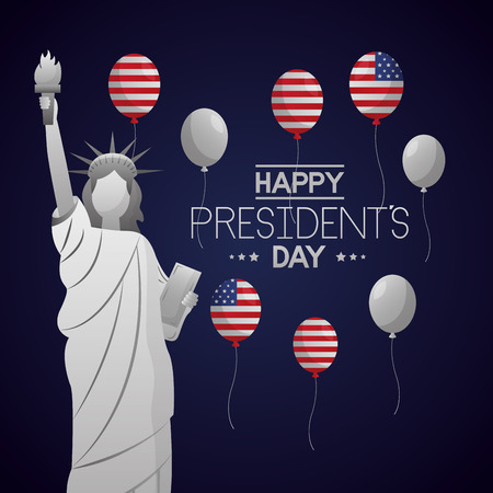 happy presidents day statue of liberty american balloons vector illustration Ilustrace
