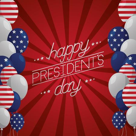 Decoración globos celebrar feliz día de los presidentes ilustración vectorial