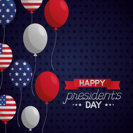 Cinta feliz día de los presidentes globos americanos fondo punteado ilustración vectorial Ilustración de vector