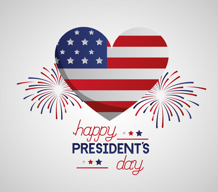 heart american flag fireworks happy presidents day vector illustration Reklamní fotografie - 125979395
