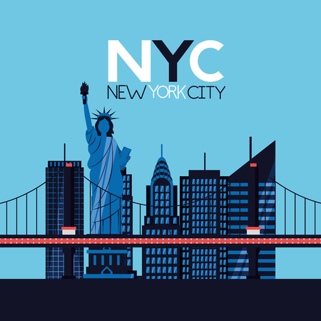 new york city brooklyn bridge statue of liberty vector illustration