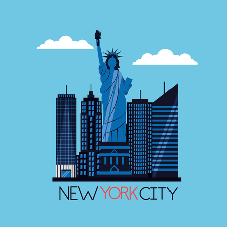new york city statue of liberty buildings street vector illustration