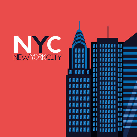 new york city sign buildings background vector illustration
