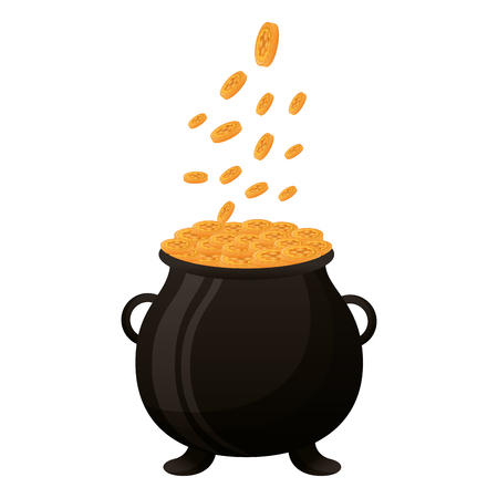 falling coins on cauldron happy st patricks day vector illustration Ilustracja