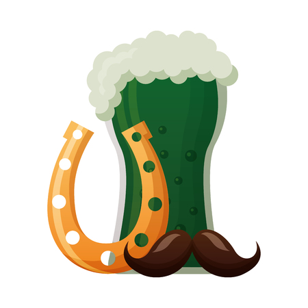 green beer horseshoe moustache happy st patricks day vector illustration Ilustracja
