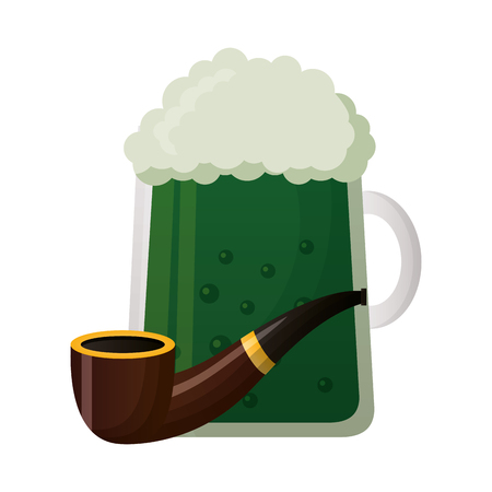 green beer and tobacco pipe happy st patricks day vector illustration