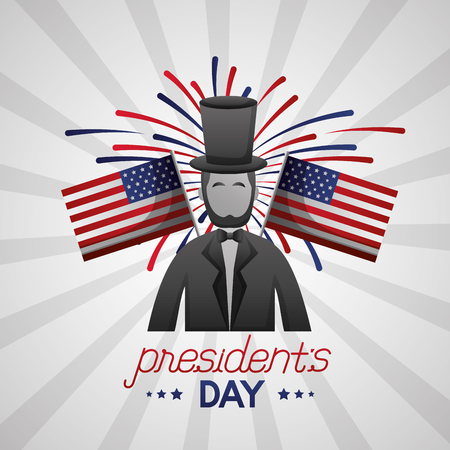 happy presidents day usa flags abraham lincoln fireworks vector illustration