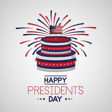 happy presidents day cake celebration fireworks vector illustration Reklamní fotografie - 125979447