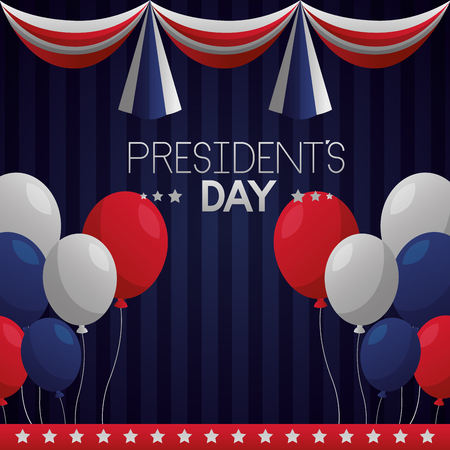 happy presidents day decoration balloons pennants vector illustration