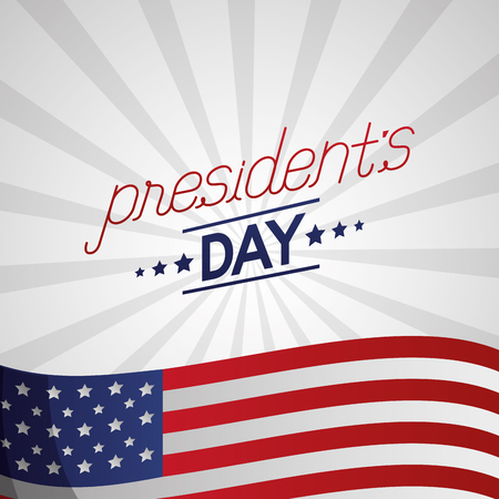 happy presidents day wave usa flag stripes background vector illustration Ilustrace