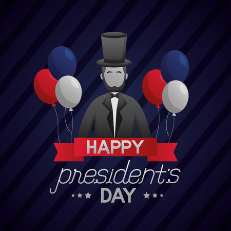 happy presidents day abraham lincoln balloons ribbon vector illustration Ilustração
