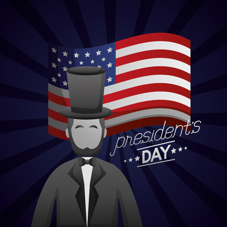 abraham lincoln american flag celebration happy presidents day vector illustration