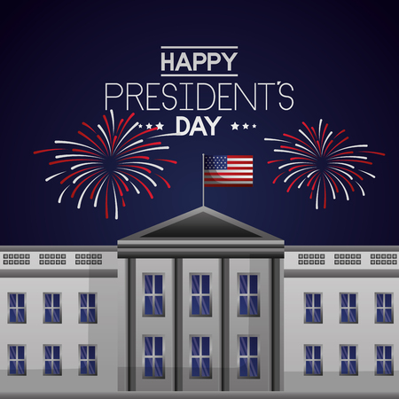 the white house fireworks celebrate happy presidents day vector illustration