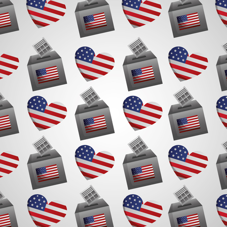 hearts american flag voting box background vector illustration