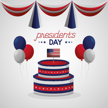cake celebration happy presidents day pennants balloons vector illustration Ilustrace