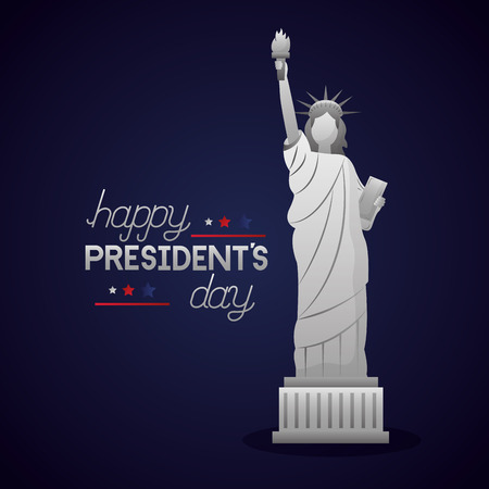statue of liberty happy presidents day celebrate vector illustration