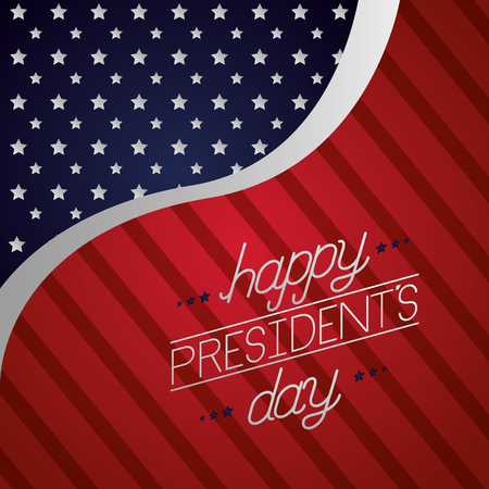 wave flag american celebrate happy presidents day vector illustration