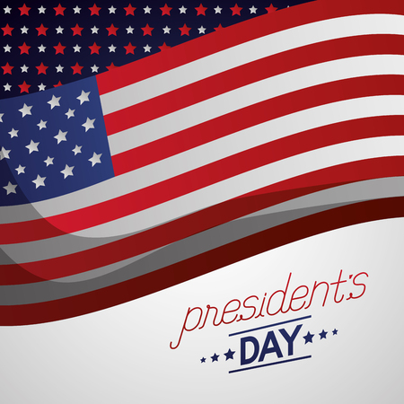 wave american flag happy presidents day decoration background vector illustration