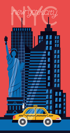 high buildings clouds new york city vector illustration Banco de Imagens - 125979462