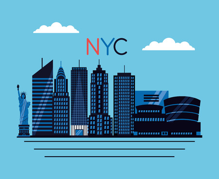 new york city buildings statue of liberty vector illustration