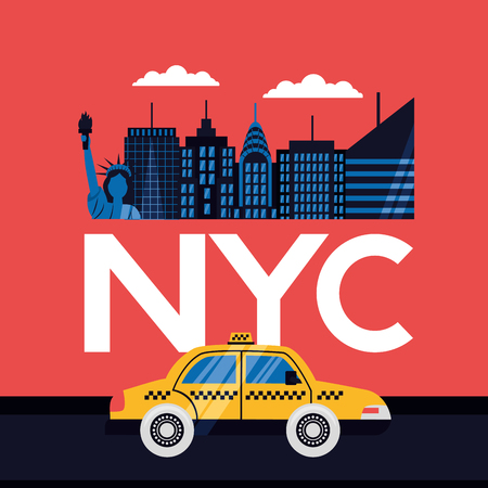 new york city taxi buildings statue of liberty vector illustration