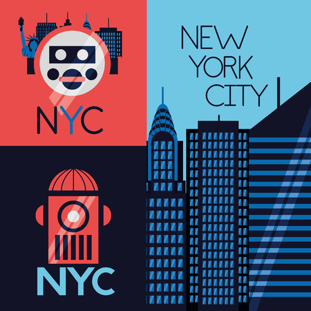 new york city banner buildings icons vector illustration