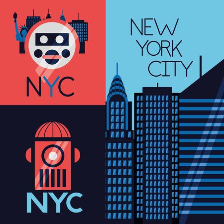 new york city banner buildings icons vector illustration Banco de Imagens - 125979466
