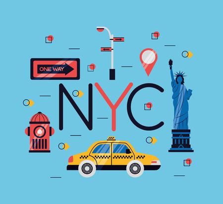new york city statue of liberty taxi location icons vector illustration Banco de Imagens - 125979468