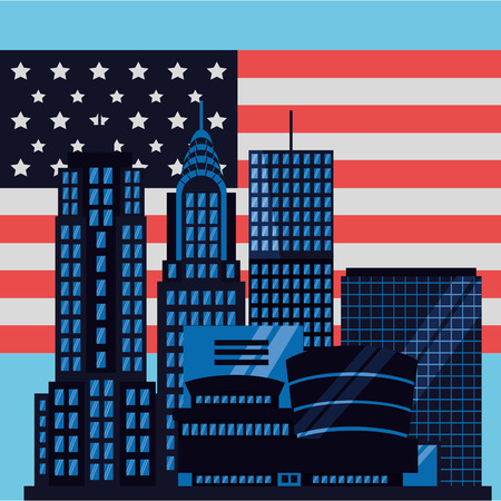 new york city american flag high buildings vector illustration