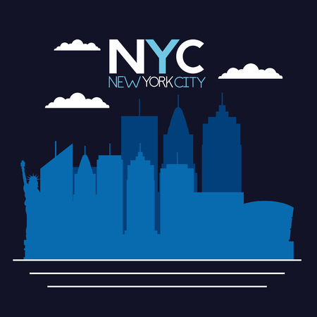 sketch new york city clouds sign vector illustration