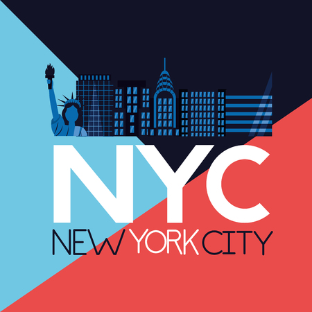 new york city sign buildings statue of liberty vector illustration