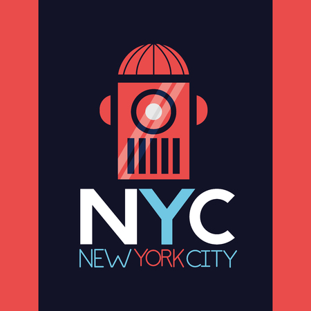 new york city red icon sign background vector illustration Ilustracja
