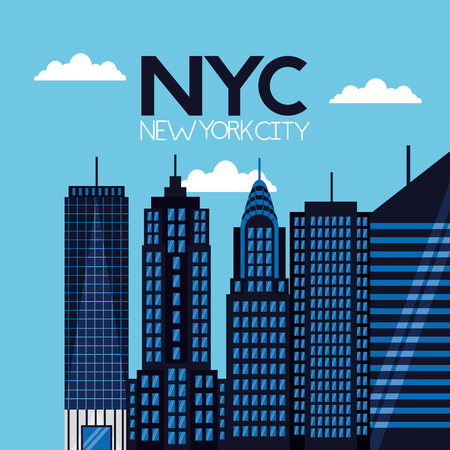 high buildings clouds new york city vector illustration