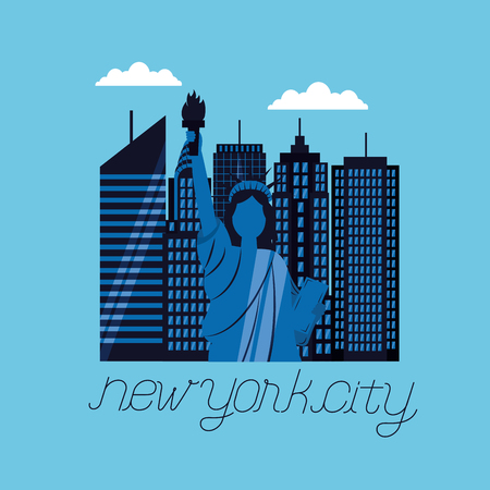 clouds high buildings statue of liberty new york city vector illustration