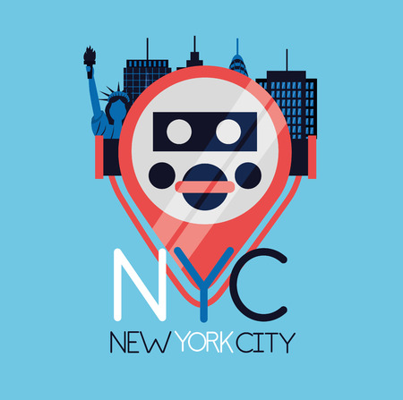 new york city icon location buildings vector illustration  イラスト・ベクター素材