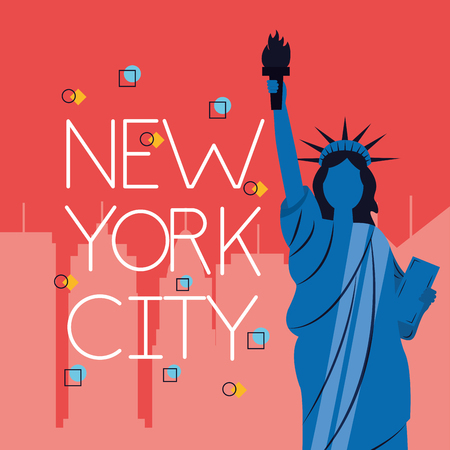 statue of liberty new york city icons buildings vector illustration
