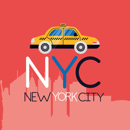 taxi sign buildings new york city background vector illustration