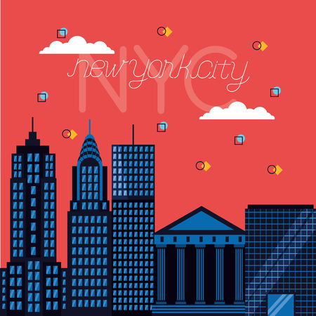clouds buildings icons new york city vector illustration