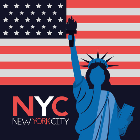 sign statue of liberty new york city american flag vector illustration  イラスト・ベクター素材