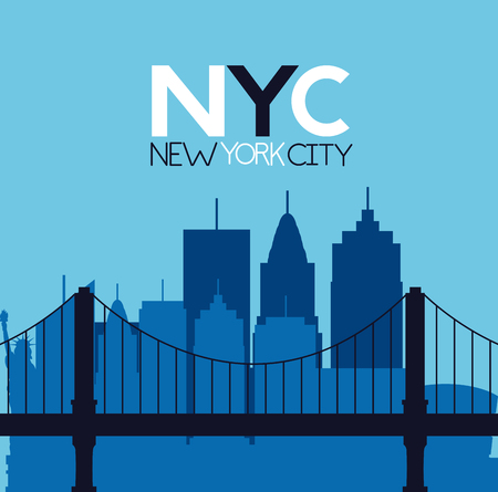 new york city brooklyn bridge buildings background vector illustration