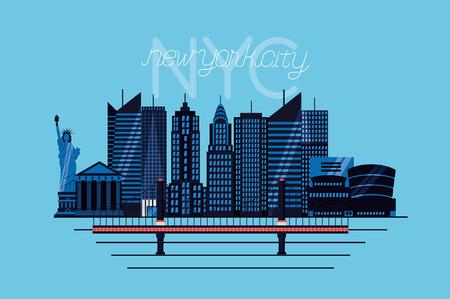 brooklyn bridge buildings new york city sign vector illustration