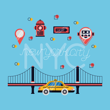 icons brooklyn bridge taxi new york city vector illustration Ilustracja