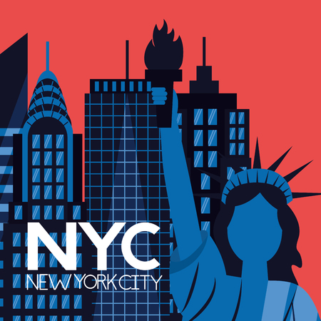 new york city statue of liberty sign buildings background vector illustration  イラスト・ベクター素材