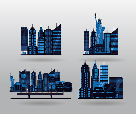new york city emblem icons vector illustration Illusztráció