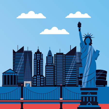 statue of liberty bridge buildings new york vector illustration