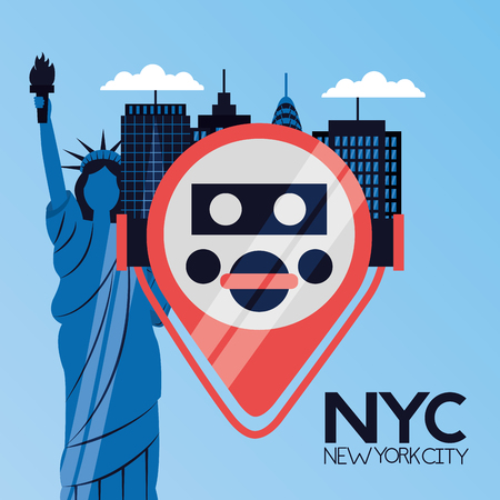 binocular viewer statue of liberty new york city vector illustration