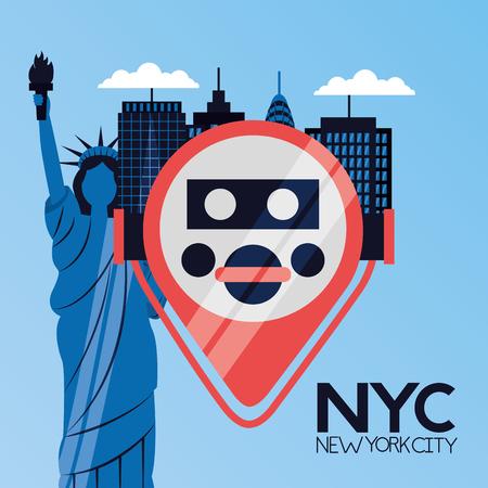 Visor binocular estatua de la libertad ilustración de vector de la ciudad de Nueva York